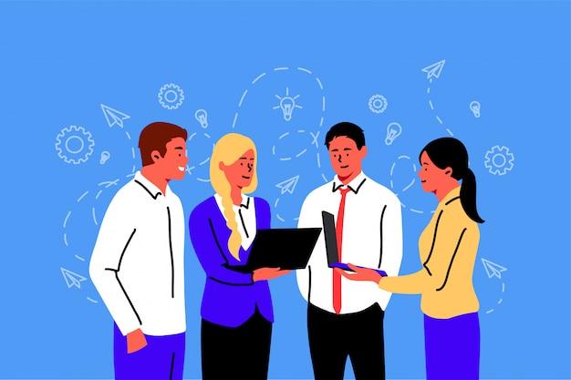 Bijeenkomst, coworking, teamwork, discussie, bedrijfsconcept.