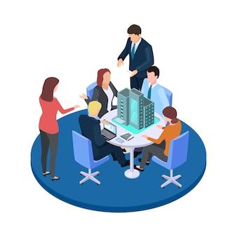 Bijeenkomst in een bouwbedrijf, zakelijk geschil over flatgebouw isometrisch concept