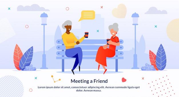 Bijeenkomst multi-etnische senior vrienden cartoon flat