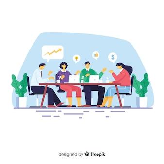 Bijeenkomst op de achtergrond van het kantoor