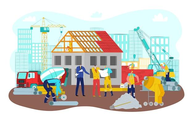 Bijeenkomst op de bouw van het werk, mensen uit het bedrijfsleven en ingenieur in de buurt van kraan