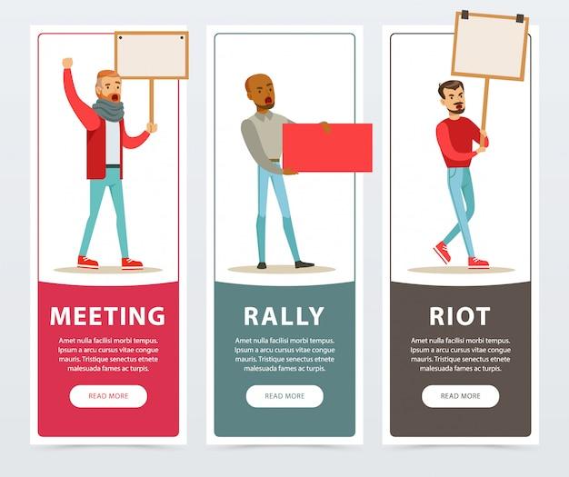 Bijeenkomst, rally, rel banners ingesteld, mannen met piketborden die protesteren tegen platte vectorelementen voor website of mobiele app