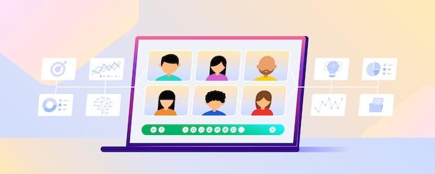Bijeenkomst thuis smartphone en laptop verloop illustratie