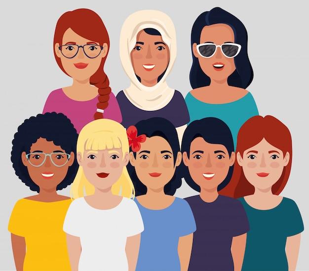Bijeenkomst van mooie vrouwen avatar karakter