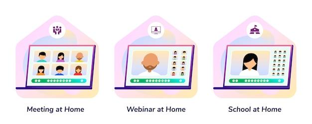 Bijeenkomst, webinar, school, thuis laptop gradient illustratie