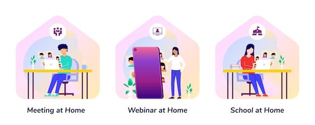 Bijeenkomst, webinar, school, thuis smartphone verloop illustratie