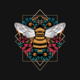 Bijen bloem geometrie illustratie
