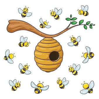 Bijen cartoon collectie met bijenkorf