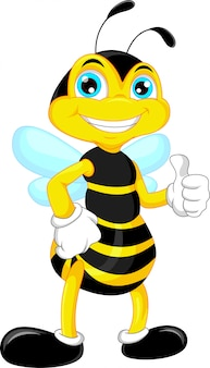 Bijen cartoon duim omhoog