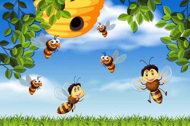 Bijen en bijenkorf natuur scène