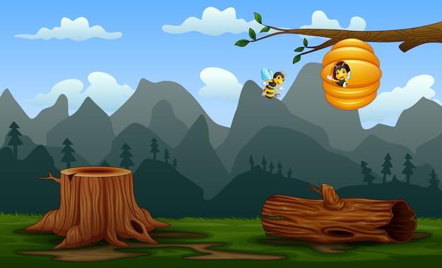 Bijen en bijenkorf op de tak in de natuur