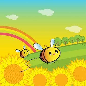 Bijen en bloemen in de tuin
