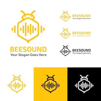 Bijen geluid muziek golf productie logo sjabloon