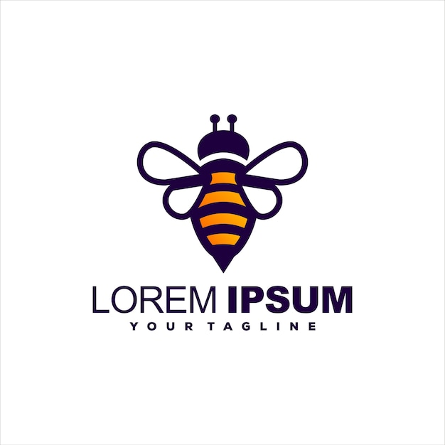 Bijen honing gradiënt logo ontwerp