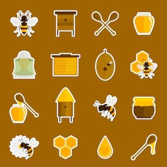 Bijen honing pictogrammen stickers set met lepel jar bumblebe geïsoleerd vector illustratie