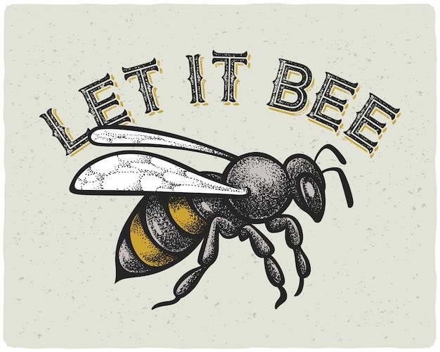 Bijen illustratie met tekst