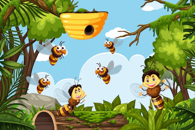 Bijen in jungle scene