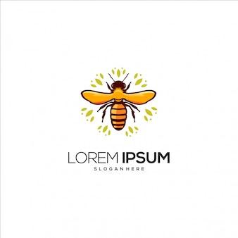 Bijen karakter met bloem logo