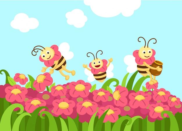 Bijen op zoek naar voedsel vector