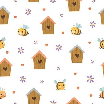 Bijenhuizen naadloos patroon