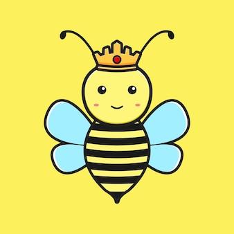 Bijenkoningin mascotte cartoon pictogram vectorillustratie. ontwerp geïsoleerde platte cartoonstijl
