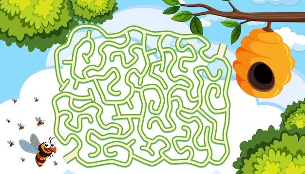 Bijenkorf doolhof puzzel concept