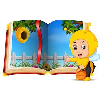 Bijenkorf landschap in het boek en kind
