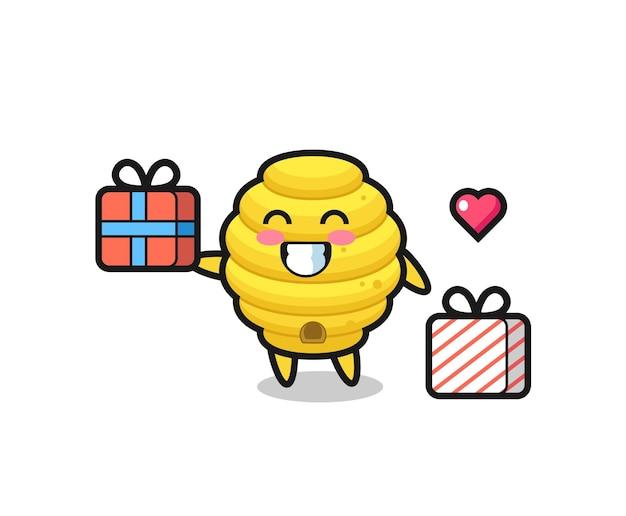 Bijenkorf mascotte cartoon die het geschenk geeft, schattig ontwerp