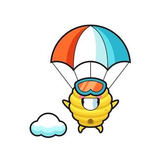 Bijenkorf mascotte cartoon is parachutespringen met een gelukkig gebaar, schattig ontwerp