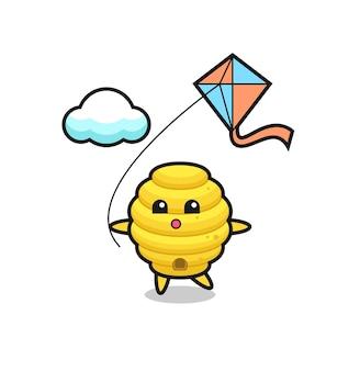 Bijenkorf mascotte illustratie speelt vlieger, schattig ontwerp