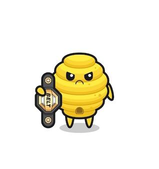 Bijenkorf mascotte karakter als een mma-jager met de kampioensriem, schattig ontwerp