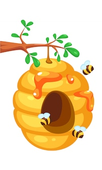 Bijenkorf op boombeeldverhaal