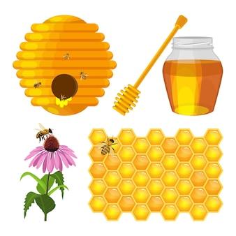 Bijenkorfnest, bij op honingraat, bijen op paarse veldbloem, kruik met verse honing en houten stok