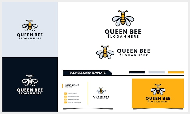 Bijenlogo, bijenkoningin logo en visitekaartje sjabloon