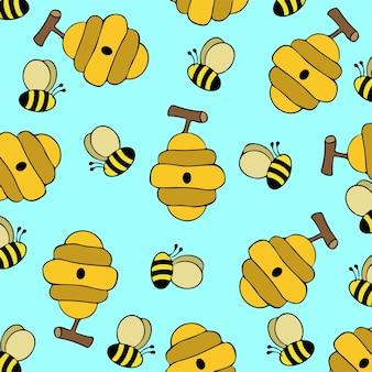 Bijenpatroon achtergrond vectorillustratie