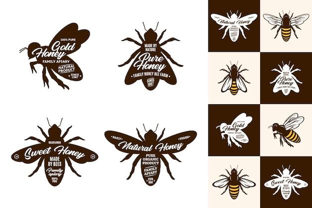 Bijenpictogrammen en logo-collectie op verschillende achtergronden