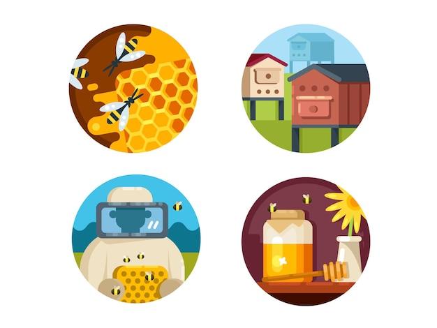 Bijenstal set. honingboerderij en verzamel honing. vector illustraties