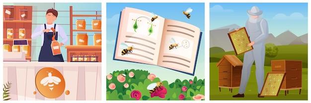 Bijenteelt drie platte kleur vierkante illustraties met vliegende bijen imker en verkoper