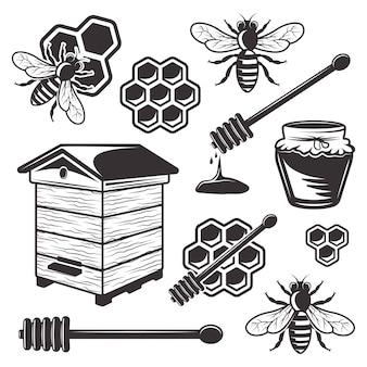 Bijenteelt en honing set zwarte objecten en elementen op witte achtergrond