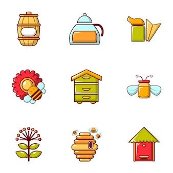 Bijenteelt hulpmiddelen iconen set, vlakke stijl