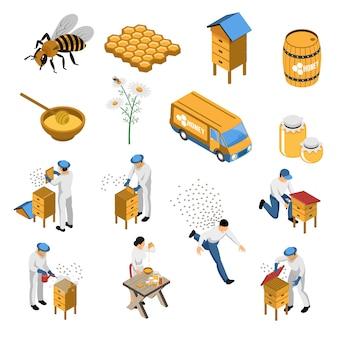 Bijenteelt isometrische set met bloemen en bijen imker in de buurt van bijenkorf honing in verschillende containers geïsoleerd