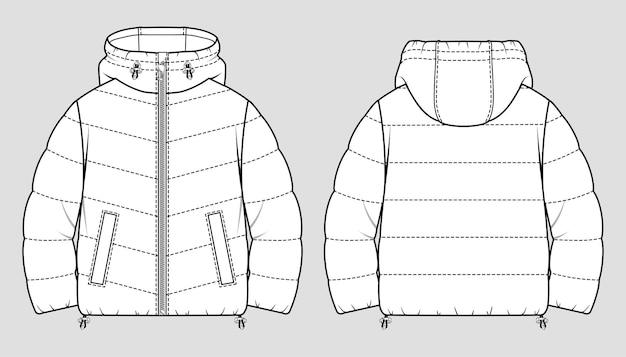 Bijgesneden puffer winterjas. oversized gewatteerde damesjas. technische schets.