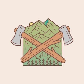 Bijlbadge met illustratie van de bergmening