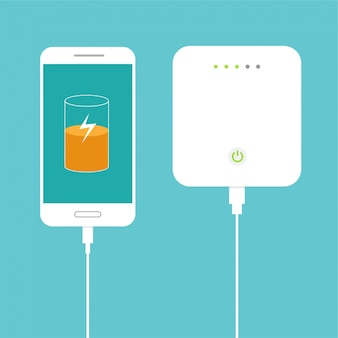 Bijna volle batterij. smartphone opladen met externe powerbank. database opslagapparaat concept. plat ontwerp. illustratie.