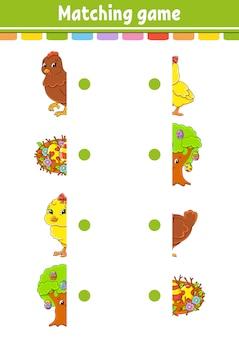 Bijpassend spel. teken een lijn. pasen thema. onderwijs ontwikkelt werkblad. activiteitenpagina met kleurenfoto's.
