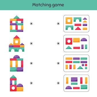 Bijpassende game bouwstenen voor kinderen werkblad voor kinderen, kleuterschool, kleuterschool en schoolleeftijd