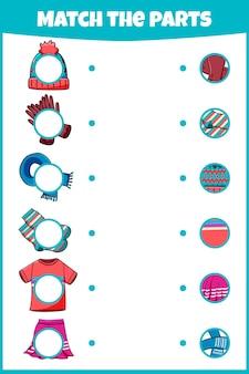 Bijpassende game voor kinderen. educatief werkblad met match de onderdelen.