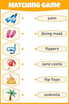 Bijpassende game voor kinderen verbind afbeelding en woorden educatief werkblad voor kinderen