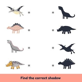 Bijpassende game voor kinderen voorschoolse en kleuterschoolleeftijd vind de juiste schaduw schattige dinosaurussen