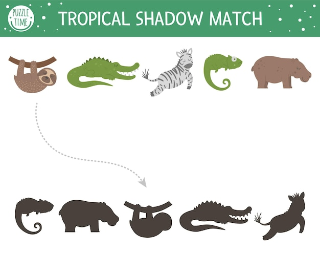 Bijpassende tropische schaduwactiviteit voor kinderen. preschool jungle puzzel. leuk exotisch educatief raadsel. zoek het juiste afdrukbare werkblad met tropische dieren.
